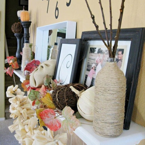 Cover your vases or even simple bottles with twine for a rustic fall look.