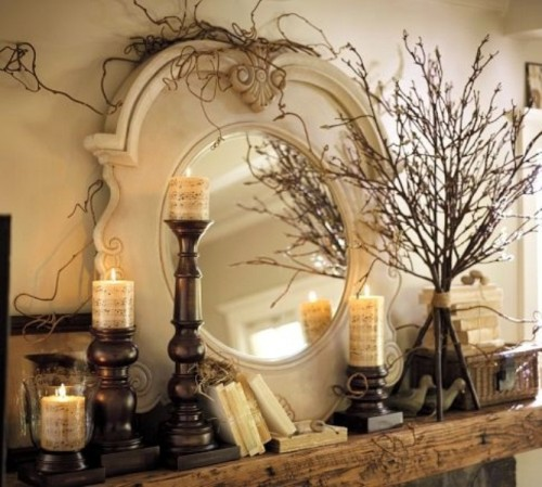 Dried twigs add dimension and they are the most easy solution for fall display.
