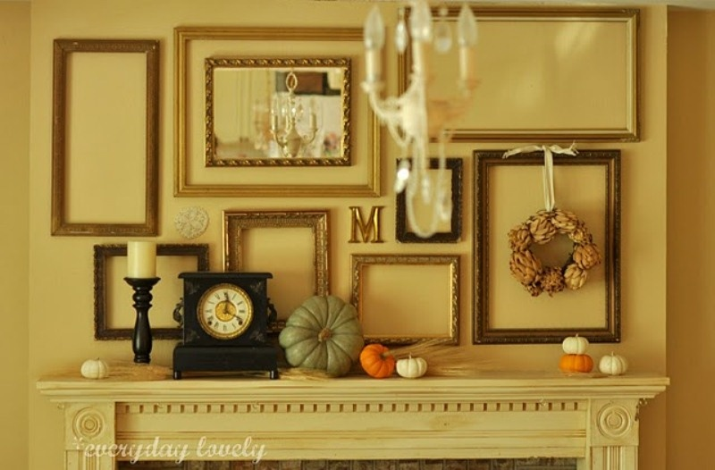 Picture of exciting fall mantel decor ideas for Over the mantle decor