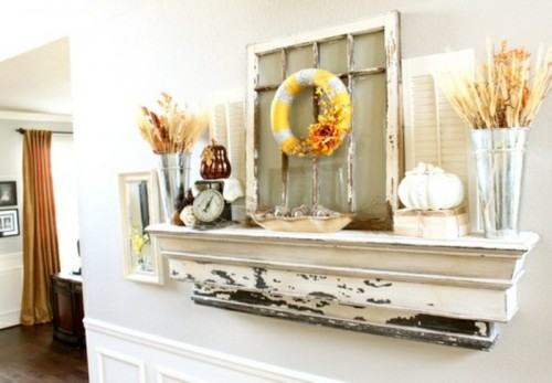 If you don't have a mantel then a weathered wood shelf with trim would work as a charm as your fall display.