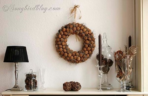 Making a nut or acorn wreath is one of those DIY projects that would definitely pay off. You can use it as outdoors as indoors.