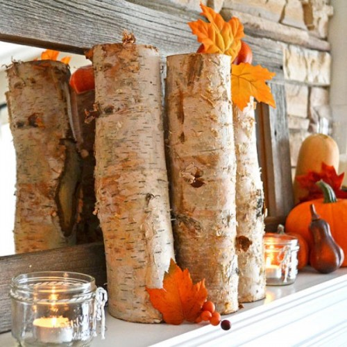 Birch bark adds rustic appeal to any arrangement so several birch stumps would look great on any mantel, especially combined with seasonal things like tiny pumpkins and colorful leaves.