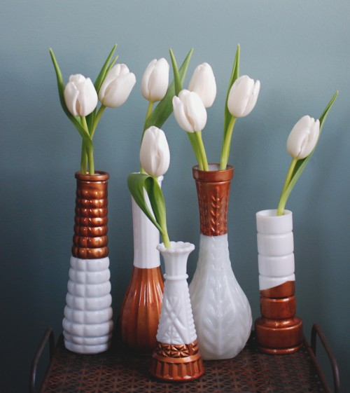 copped dipped milk glass vases (via themerrythought)