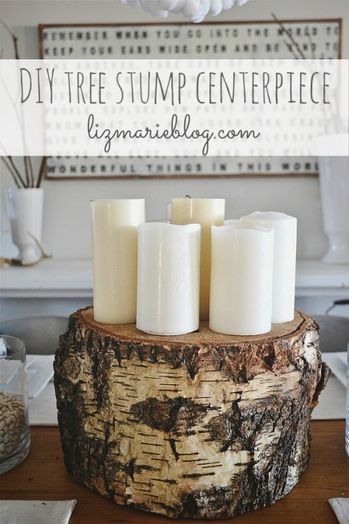 Extremely Simple DIY Tree Stump Centerpiece