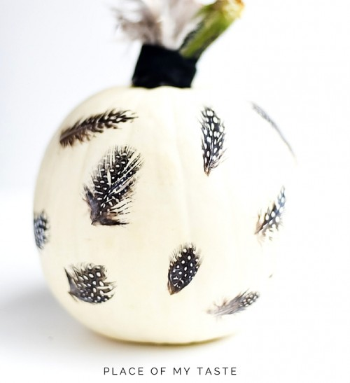 Eye-Catching DIY Feathered Decoupage Pumpkin