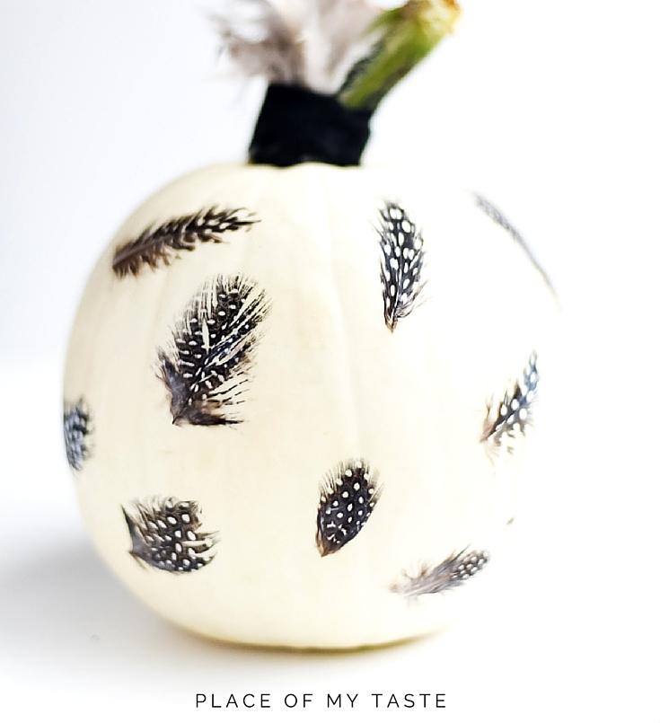 Eye-Catching DIY Feathered Decoupage Pumpkin