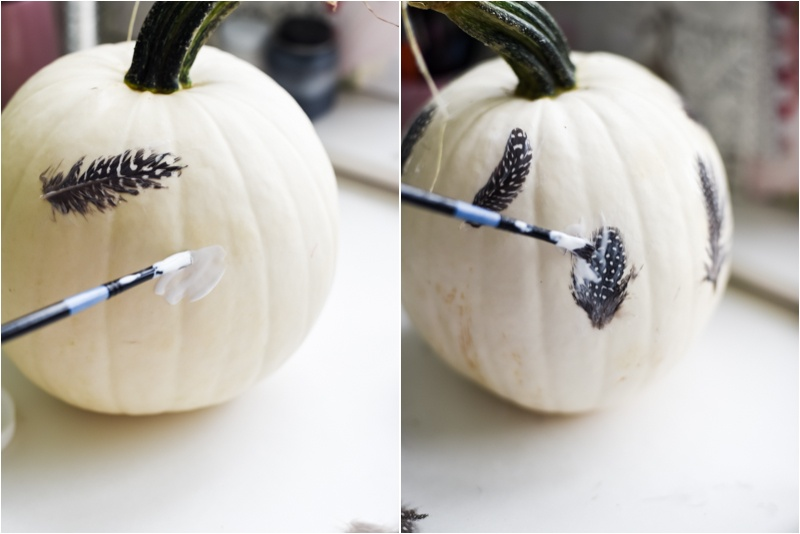 Picture Of eye catching diy feathered decoupage pumpkin  4