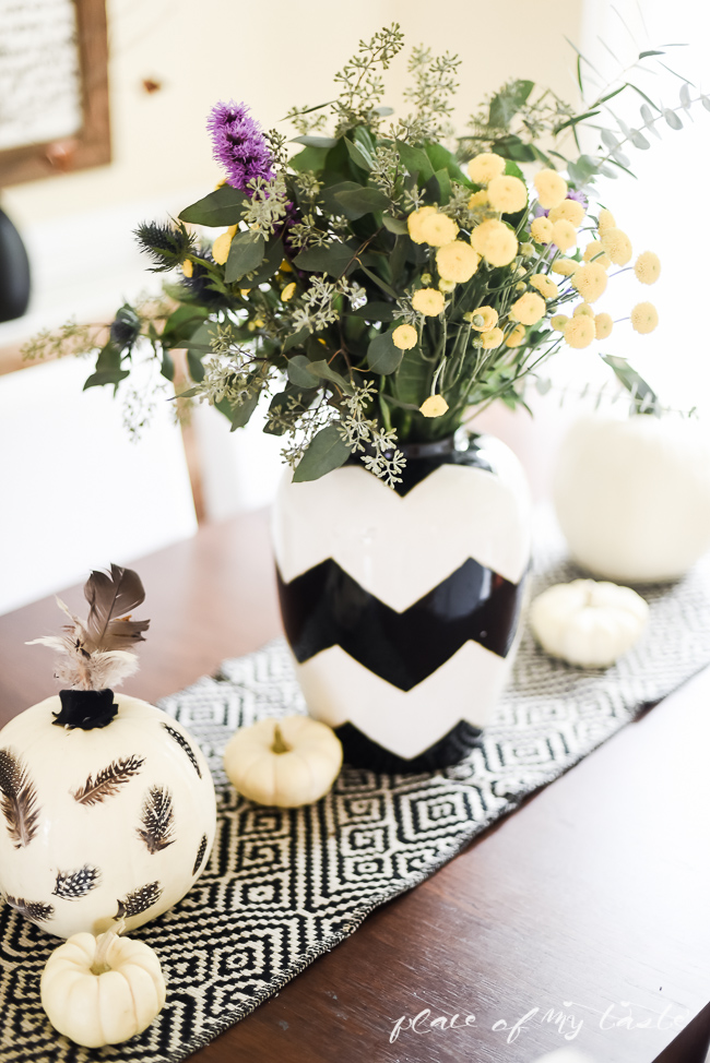 Picture Of eye catching diy feathered decoupage pumpkin  7