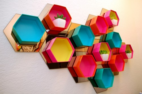 Eye-Catching DIY Hexagon Shelves