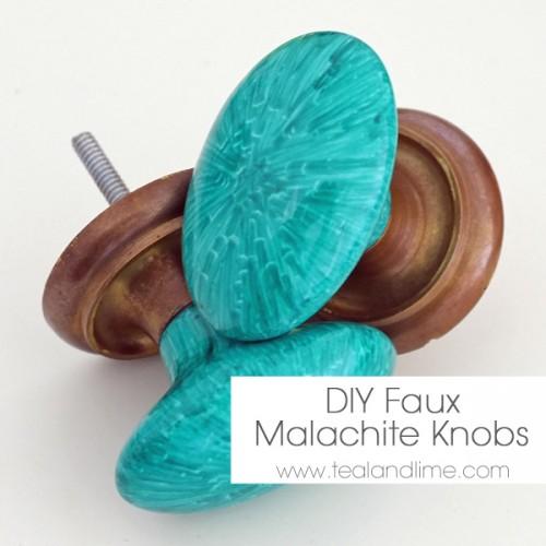 faux malachite knobs (via tealandlime)