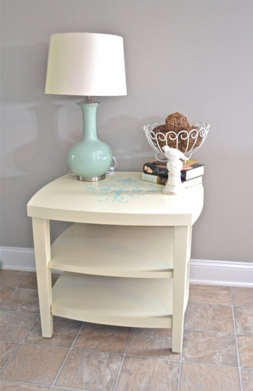 dyed and stenciled nightstand (via shelterness)