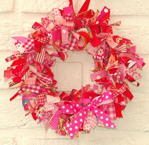 Fabric Red Pink Wreath