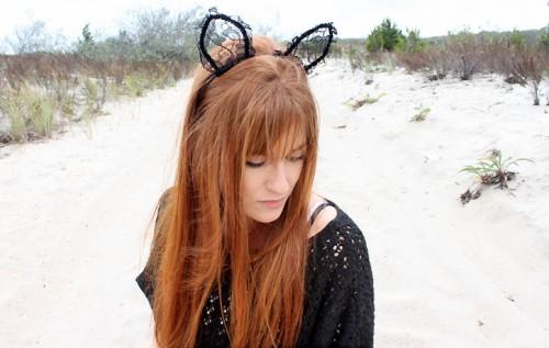 lace Halloween cat ears