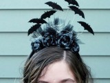 batty Halloween headband