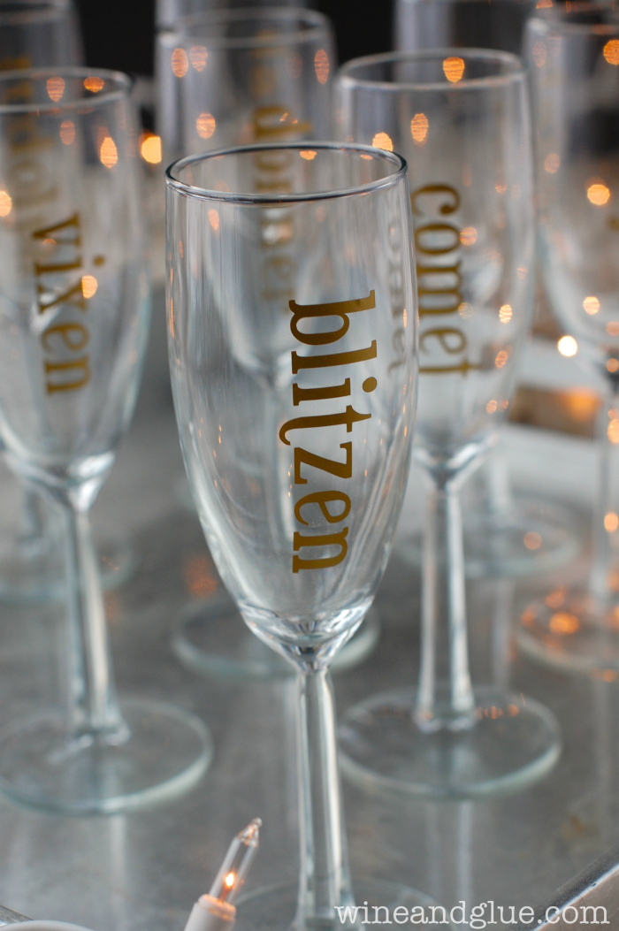 gold holiday champagne glasses