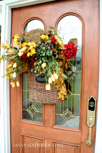 You can change things in a basket wreath according to the season.