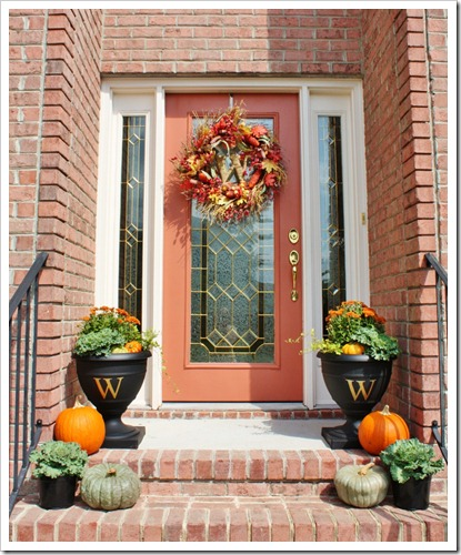 If you have vases on both sides of your front door you can grow some orange annuals there.