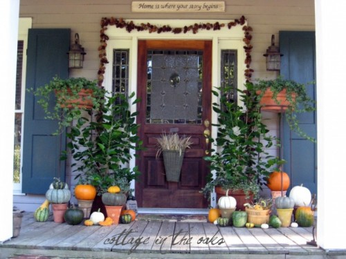 To make tiered installations you could put pumpkins in planters. That also give you an ability to play with colors because you can mix and match them in different ways.