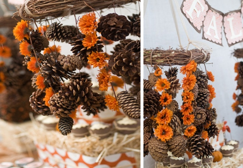 vines, bright blooms and pinecones compose a lovely and all natural fall decoration to enjoy