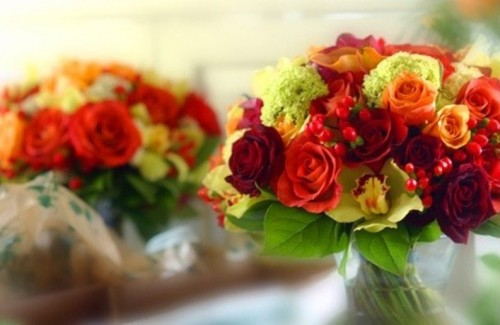 bright fall floral arrangements with berries are lovely bouquets or centerpieces with plenty of color