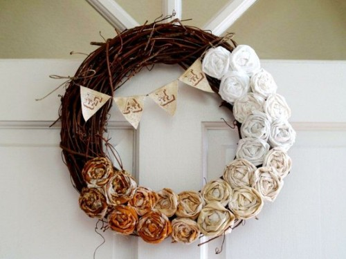 Rosette embellishments could be made of fabric strips. Frayed edges  would make them look quite rustic.