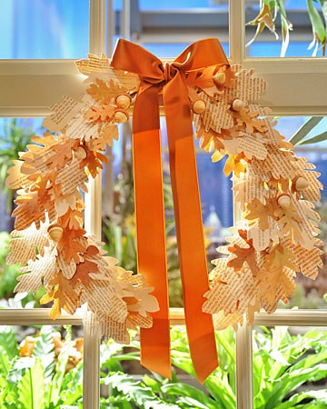 Instead of using real leaves cut them from paper. They'd be perfect for an indoor fall wreath because such wreath won't leave any mess around.