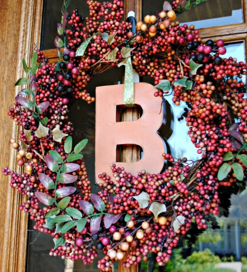 Paint a wooden letter with your favorite color hue to make a bold monogram wreath.