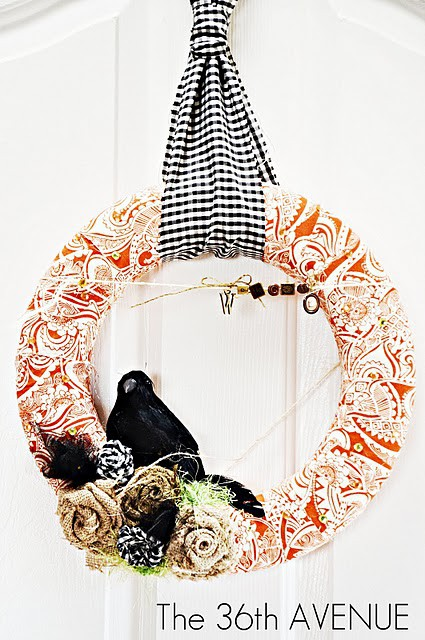 You can use fabric scraps to make a cute instead of spooky Halloween wreath.