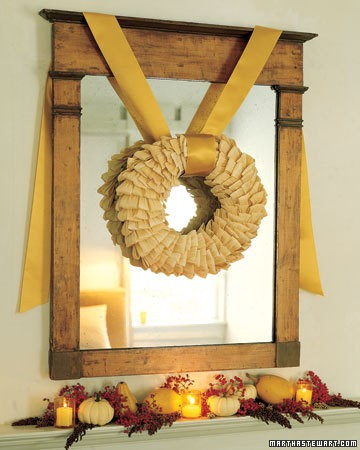 Drop cloth-inspired wreath would be a perfect neutral addition to any room.