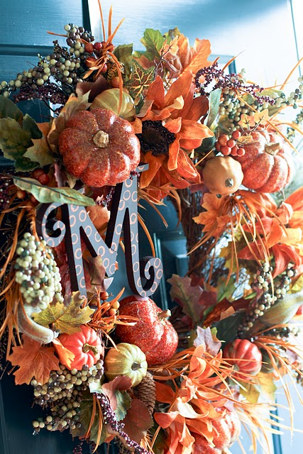 Colorful leaves, pumpkins and berries would turn a plain wreath into a vibrant display.