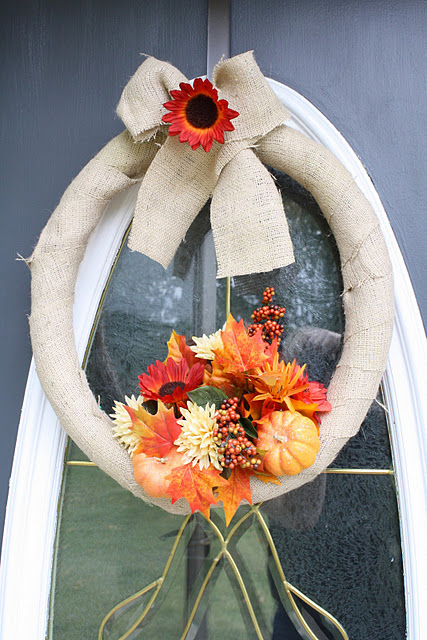 Cover a wreath form with burlap to make a neutral background. Autumn's blooms would make it looks vibrant.