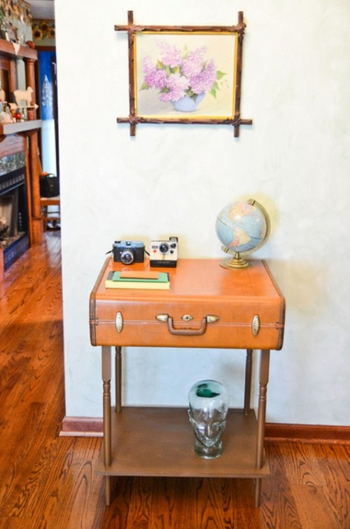 Fashionable DIY Suitcase Side Table