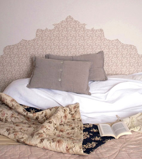 diy faux wallpaper headboard shelterness
