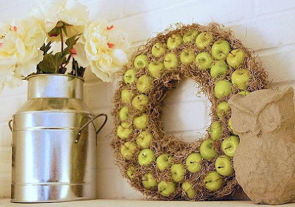 hay and apple wreath