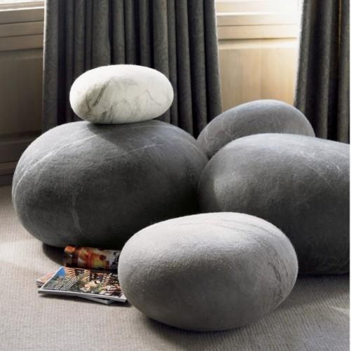 Felt Wool Stools Shaped Like Pebbles