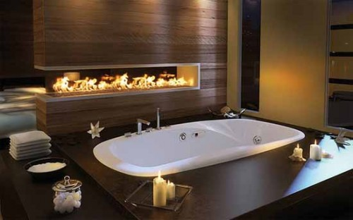 25 Bathroom Designs With Built-In Fireplaces