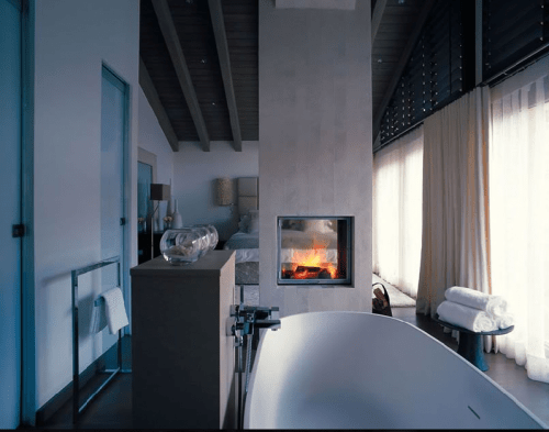 Fireplace In A Bathroom