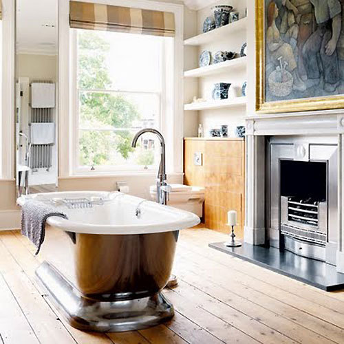 Fireplace In A Bathroom Shelterness
