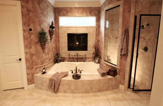 Picture of fireplace in a bathroom for Fireplaces bath