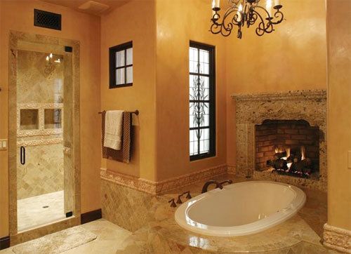 25 Bathroom Designs With Built In Fireplaces Shelterness