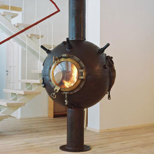 Creative Fireplaces Made of Decommissioned Naval Mines