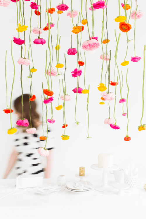hanging flower installation (via sugarandcloth)