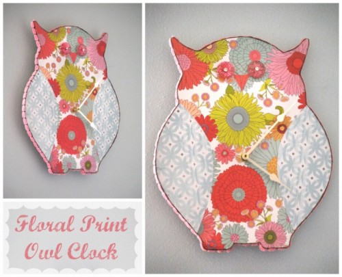 floral prinnt owl clock (via shelterness)