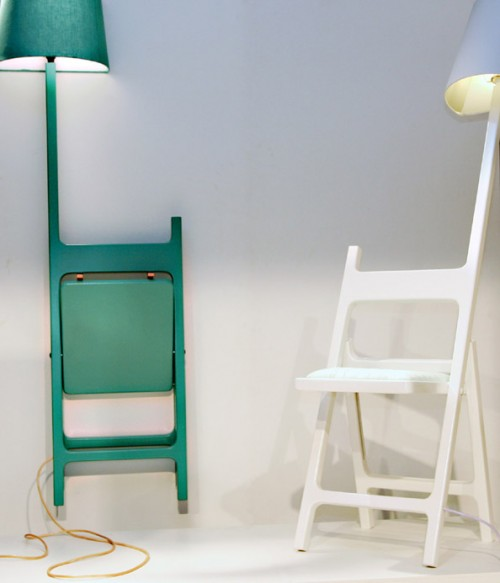 A Folding Chair Combined With A Floor Lamp