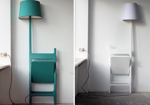 Folding Chair Combined With Floor Lamp