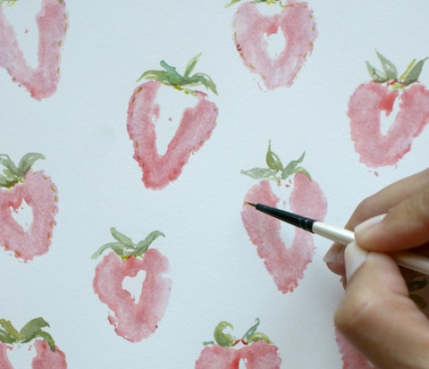 strawberry printed wall art (via hellolucky)