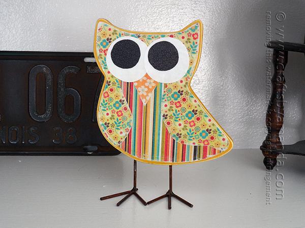 wooden decoupage owl