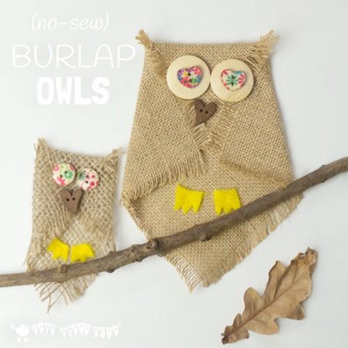 burlap owls (via kidscraftroom)