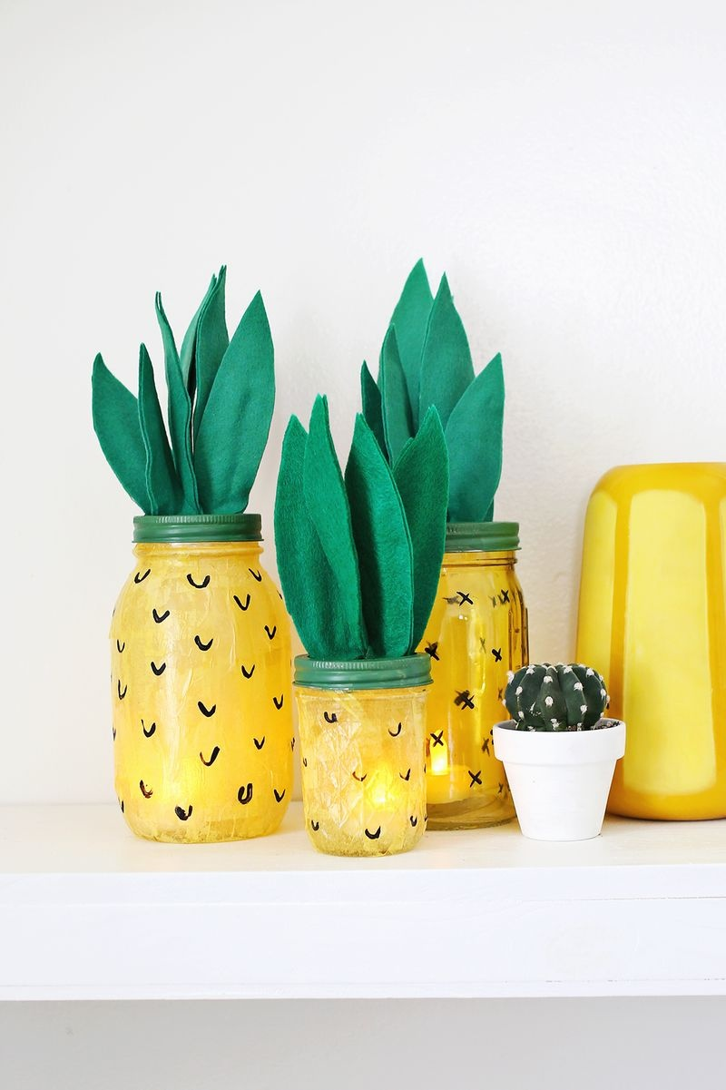 Picture Of fun and colorful diy pineapple night light  1