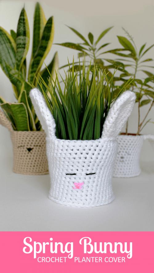 bunny crochet planter